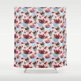 Cute Succulent Pot Plant Pattern Shower Curtain