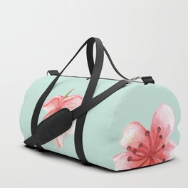 Pink Cherry Blossoms On Pastel Robin's Egg Blue Continuos Pattern Duffle Bag