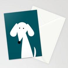 White Dachshund - Turquoise  Stationery Cards