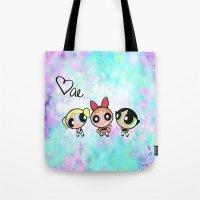 powerpuff girls Tote Bags featuring Powerpuff Girls by Mind of Bae