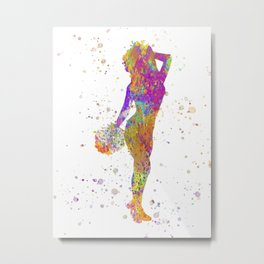 young woman Cheerleader Art Girl Poms Dance in watercolor 05 Metal Print