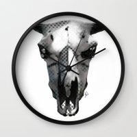animal skull Wall Clocks featuring Animal Skull by K_Leigh_J