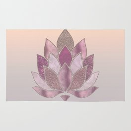 Elegant Glamorous Pink Rose Gold Lotus Flower Rug