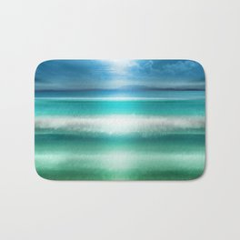 """Blue sky over teal sea South"" Bath Mat"