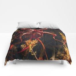 Blooming Crimson Octopus Comforters