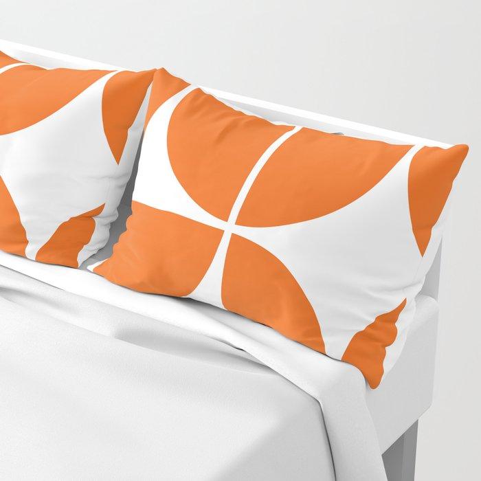 Mid Century Modern Orange Square Pillow Sham