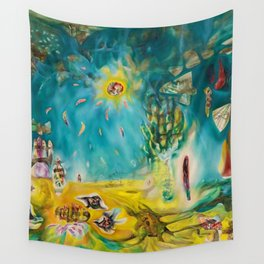 The Earth Is a Man landscape by R. Matta Wall Tapestry