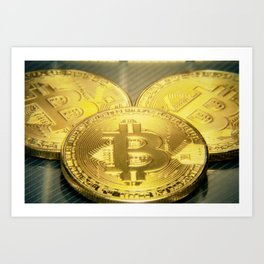 Bitcoins macro big round mojo Art Print