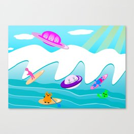 Aliens Go Surfing Canvas Print