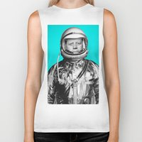 "jfk Biker Tanks featuring JFK ASTRONAUT (or ""All Systems Are JFK"") by Dan Levin's Objects of Curiosity"