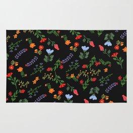 Dark Flower Pattern Rug