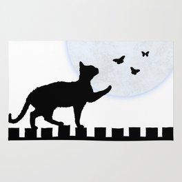 Playful Cat on a Fence Rug