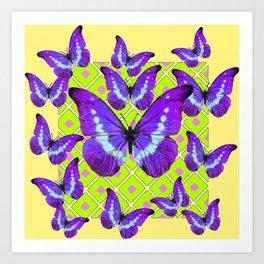 Purple Butterflies Migration on Yellow-Lime Color Pattern Art Print