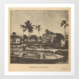 Alice Dixon Le Plongeon - Carib Hut and Boats (1889) Art Print