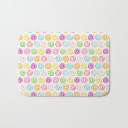 Watercolor pink sprinkle donuts Bath Mat