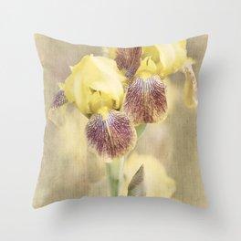 Iris Cream Throw Pillow