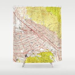 Vintage Map of Burbank California (1953) Shower Curtain