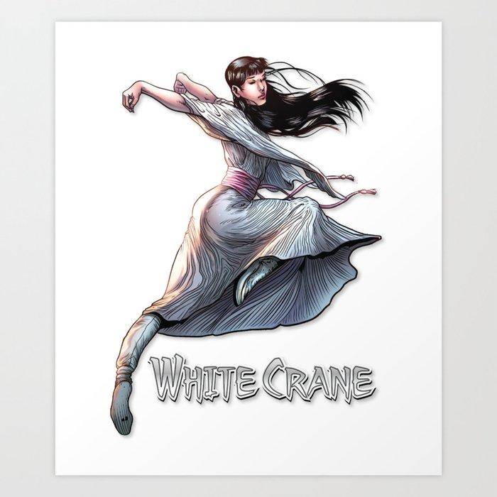 White Crane Comic Kung Fu Girl Tshirt Cute Martial Arts Gift Art Print By Higherselfart Society6