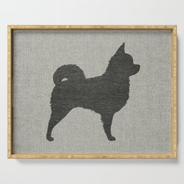 Longhaired Chihuahua Silhouette Serving Tray