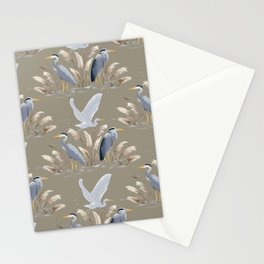 Great Blue Heron - Tan and Gray Stationery Cards