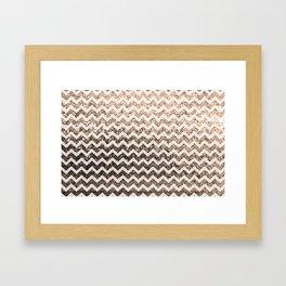 Glitter Sparkly Bling Chevron Pattern (champagne) Framed Art Print
