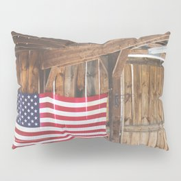 Rural American Flag in a Traditional Rustic Barn Pillow Sham