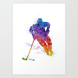 Boy Ice Hockey Colorful Watercolor Artwork Art Print
