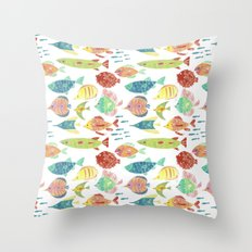 Little flowers and friends Throw Pillow