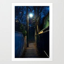 Path by streetlight Art Print