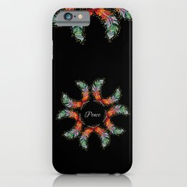 Hand Embroidery Tribal Rainbow Feather - Peace iPhone Case