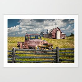 Pickup Truck behind wooden fence in a Rural Landscape Art Print