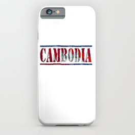 Cambodia Font with Cambodian Flag iPhone Case