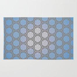 Hexagonal Dreams - Periwinkle/Turquoise gradient Rug