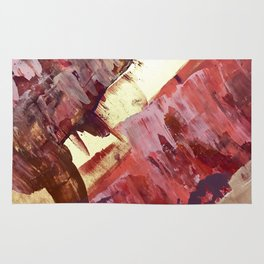 Desert Sun: A bright, bold, colorful abstract piece in warm gold, red, yellow, purple and blue Rug