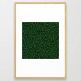 Holly Leaves and Berries Pattern in Dark Green Framed Art Print