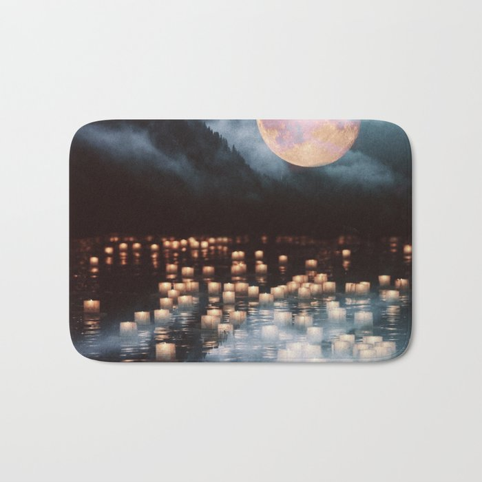 Fantasy lake with moonlight Bath Mat