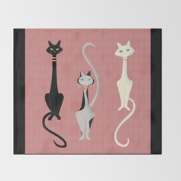 Midcentury Modern Sleek And Stylish Parisian Kitty Cat Trio Throw Blanket