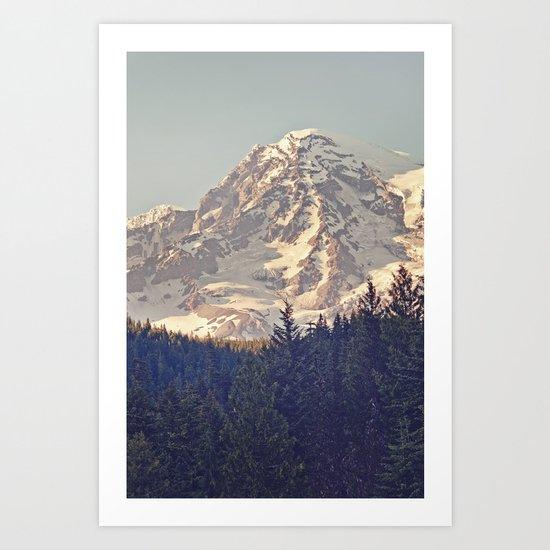 Mount Rainier Retro Art Print