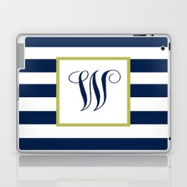 Monogram Letter W in Navy Blue and Stripes Laptop & iPad Skin