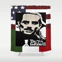 the godfather Shower Curtains featuring Robert De Niro Godfather II  by jt7art&design
