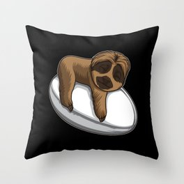 Cute Sloth Sleeps On A Rugby Ball Throw Pillow