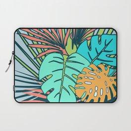 Tropical leaves blue Laptop Sleeve