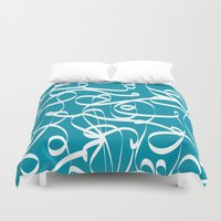 crossfit Duvet Covers featuring @NEW Modern Ribbon | Teal by Joel M Young