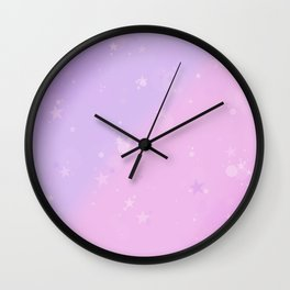 Purple Stars in a Candy Sky Wall Clock