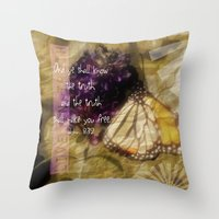 verse Throw Pillows featuring Truth - Verse by Anita Faye