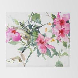 Hibiscus and Hummingbird, Hawaiian Aloha, birds and flowers design Throw Blanket