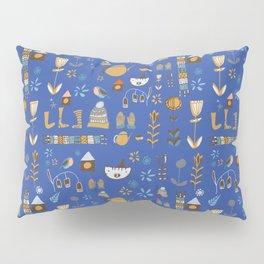 hygge cat and bird blue Pillow Sham