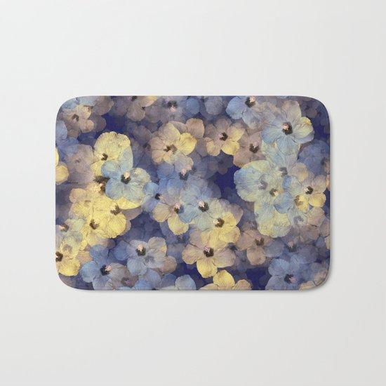 Floral Mauve-Blue-Yellow Bath Mat