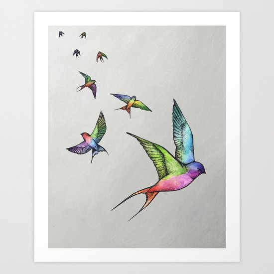 Swallows in Flight Art Print