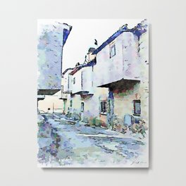 Camerata Nuova: glimpse of the street with gray buildings Metal Print